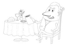 Restaurant, man near table, isolated, contour. Respectable Young Man Sitting Behind Restaurant Table and Reading Menu, Funny Cartoon Character, Black Contour on Stock Photo
