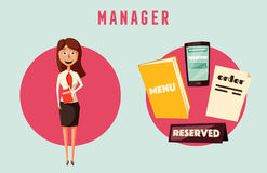 Restaurant manager. Cartoon vectror illustration royalty free illustration