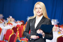 Restaurant manager or catering administrator at event Stock Photos