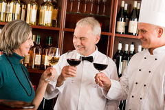 Restaurant manager posing with professional staff Royalty Free Stock Photos