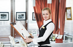 Restaurant manager woman at work Stock Photography