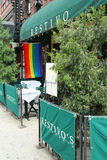 Restaurant in Manhattan welcomes customers of 43rd  annual  Pride Parade Royalty Free Stock Images