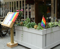 Restaurant in Manhattan welcomes customers of 43rd annual Pride Parade in New York Royalty Free Stock Photos