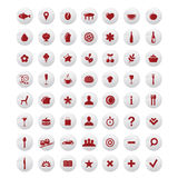 Restaurant And Map Icons Set. Vector Stock Images
