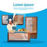 Restaurant-Material-Chef-Koch-Service Cooking Food-Küchen-Innenraum stock abbildung