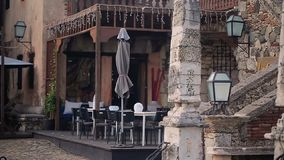 Restaurant in medieval city stock video footage