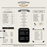 Restaurant-Menü-Design-Schablonenplan mit Ikonen und Emblem Lizenzfreie Stockfotos