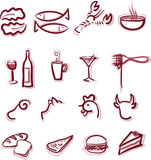 Restaurant Menu. 12 icons set of restaurant menu items Royalty Free Stock Image