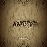 Restaurant menu. Design on a wooden texture Royalty Free Stock Photo