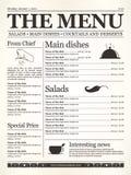 Restaurant menu. Design. Concept type of old newspaper Stock Images
