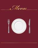 Restaurant menu. Elegant restaurant menu cover with dish, fork and knife Royalty Free Stock Photos
