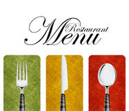 Restaurant menu. Cover design with knife, spoon and fork Royalty Free Stock Photography