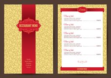 Restaurant menu. Template with golden seamless pattern on background Stock Photography