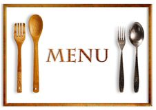 Restaurant menu. Fork and spoon made by wood and by metal stock photo