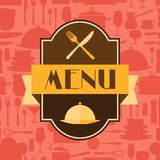 Restaurant menu background in flat design style Stock Image