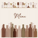 Restaurant menu background with wine bottles and g Stock Photo
