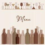 Restaurant menu background with wine bottles and g. Restaurant menu with wine bottles and glasses royalty free illustration
