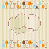 Restaurant menu background with wine bottles and g vector illustration