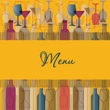 Restaurant Menu Background With Wine Bottles And G Stock Photos