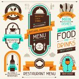 Restaurant menu, banners and ribbons, design Stock Photography