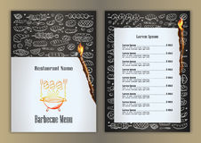 Restaurant menu with barbecue hand drawn doodle elements Royalty Free Stock Image