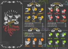 Restaurant menu beverage drink poster chalkboard calligraphic lettering old retro vintage style vector illustration. Royalty Free Stock Image