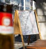Restaurant Menu Blackboard in portuguese. Stock Image