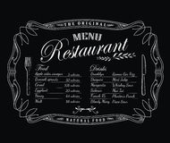 Restaurant menu blackboard vintage frame antique label  Stock Photography
