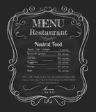 Restaurant menu blackboard vintage hand drawn frame label vector Royalty Free Stock Photo