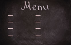 Restaurant menu board on blackboard. isolated over Royalty Free Stock Photo