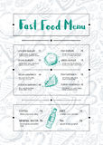 Restaurant menu brochure with hand drawn graphic. Cafe price catalog, food and drink card with snack linear sketches. Fast food vector template with pizza, hot stock illustration