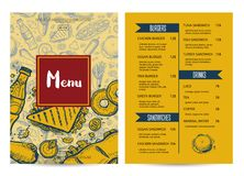Restaurant menu brochure with hand drawn graphic. Cafe price catalog, junk food card with snack linear sketches. Fast foodtemplate with hand drawn pizza, hot Stock Photography