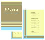 Restaurant menu and business card. Menu design and business card in brown, cream and blue suitable for a restaurant, cafe or gastro pub with bar food royalty free illustration
