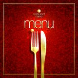 Restaurant menu card cover design with golden fork and knife against mosaic red background stock illustration