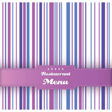Restaurant menu card design template. Vector. Restaurant menu card design template. Vintage striped background. Purple, blue and violet colors. Vector Stock Photography