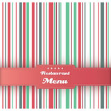 Restaurant menu card design template. Vector. Restaurant menu card design template. Vintage striped background. Red and green colors. Vector Stock Photo