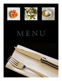 Restaurant menu. Collage of various dishes on a restaurant menu Royalty Free Stock Photography