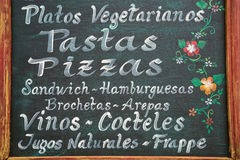 Restaurant menu in Colombia Royalty Free Stock Photo