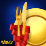 Restaurant menu concept with golden fork knife and plate. Eps 10. Luxury design Royalty Free Stock Images