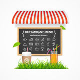 Restaurant Menu Concept. Vector. Restaurant Menu Concept witch Tent, Menu Blackboard, Cup of Coffee, Cocktail and Green Grass Line. Vector illustration Stock Photo