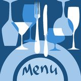 Restaurant menu cover with dishware Stock Photos