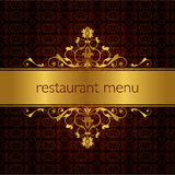 Restaurant menu design 01. Studied the traditional pattern of the eastern restaurant menu stock illustration