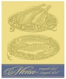 Restaurant menu design. Vector restaurant menu design with roasted chicken and fish. (Vector  illustration Stock Photo