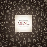 Restaurant menu design. With food icons background Stock Photo