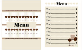 Restaurant menu design. With glass of wine Stock Photography