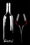 Restaurant menu design. Wine bottle and forks on black background Royalty Free Stock Image