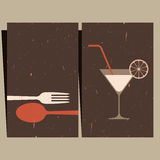 Restaurant menu design. Illustration of cocktail glass and cutlery Royalty Free Stock Photography