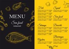 Restaurant menu design. Cafe menu cover. Seafood menu flyer. Menu brochure. Food template. Menu layout. Fish and seafood menu design. Menu for snack bars with Royalty Free Stock Images