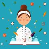 Chef holding recipe cookbook. Flat color illustration. Re. Restaurant menu design. Chef holding recipe cookbook Stock Image