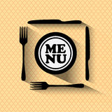 Restaurant menu design - concept vector graphic. This grphic contains fork, knife and plate with words menu Royalty Free Stock Image